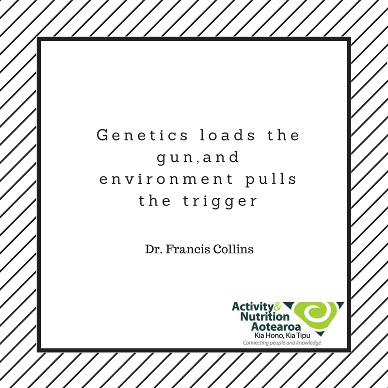 Quote from Dr Francis Collins: Genetics loads the gun, and the environment pulls the trigger.