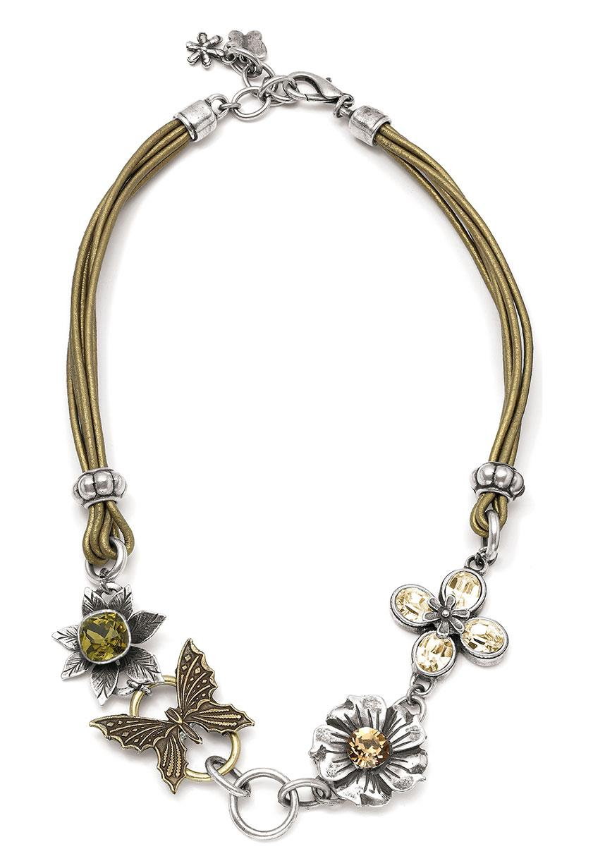 Golden Shadow Flower Necklace (N529)