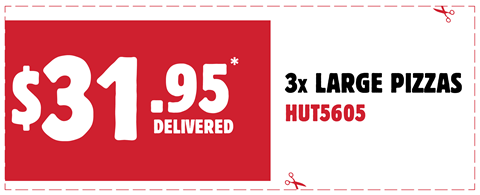 3 Large Pizzas for $31.95 Delivered. Use code at checkout to redeem: HUT5605